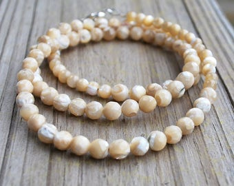 Beige Ecru Necklace Semi-Precious Faceted Stone Bead Extra Long Mother's Day Birthday Christmas Anniversary Gift Wife Mother Daughter Sister
