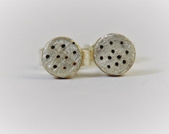 Dotty stud earrings 3mm wide in recycled sterling silver.