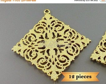 15% SALE 12 pc lot large 49mm x 46mm diamond shaped filigrees in matte gold 2054-MG-BULK (12 pieces)