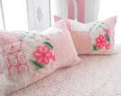 SPECIAL FOR MRS. Lyon Vintage Chenille Patchwork Quilt Style Pillow Sham Set