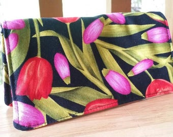 Handmade Fabric Checkbook Cover - Bloom with a view - Tulips