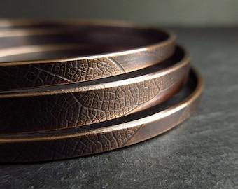Bronze bangles, three bracelets with leaf vein texture, antique bronze finish, bronze wedding anniversary gift, 8th anniversary, metalwork