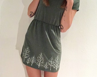 Winter Forest - olive green minidress with handpainted trees