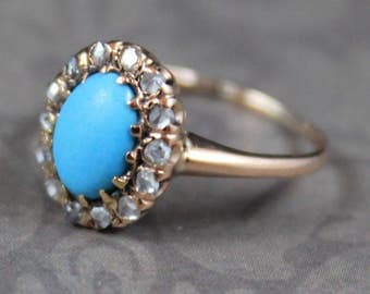 Antique Victorian Oval Turquoise 14K Rose Gold Rose Cut Diamond Ring Size 3.5
