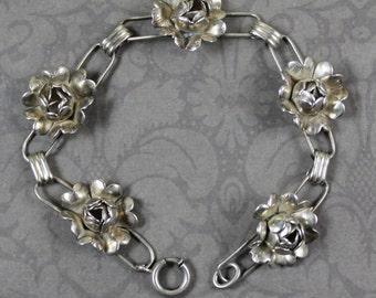 Vintage Handmade Sterling Silver Floral Linked Bracelet