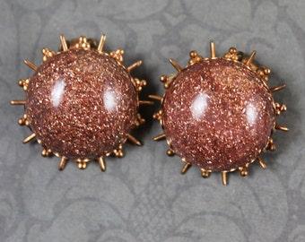 Vintage 1950s Copper and Plastic Atomic Sunburst Clip On Earrings