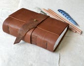 Rustic Leather Journal in Caramel Brown
