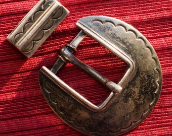 Navajo Stamped Sterling Silver Belt Buckle and Keeper Set