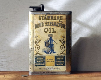 Atlantic Standard Hand Separator Oil Can - 1/2 Gallon Early Tin Litho Oil Can