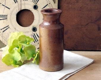 Antique Stoneware Ink Bottle - Large 1880s Pottery Ink Bottle