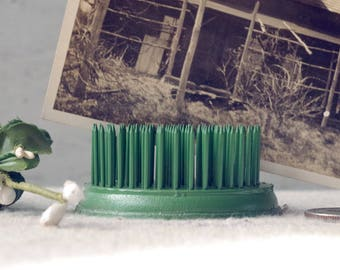 Vintage Flower Frog Green Metal with Spikes