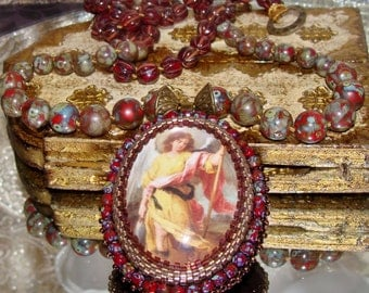 Archangel Raphael bead embroidery cabochon pendant hand knotted prayer necklace Pamelia Designs Sacred Jewelry