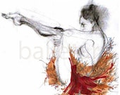 christmas sale Ballet Art Print, Neoclassical Improvisation or Ballet Moves in Ruby Red Floral Tutu, hand drawing print, artwork, ballerina