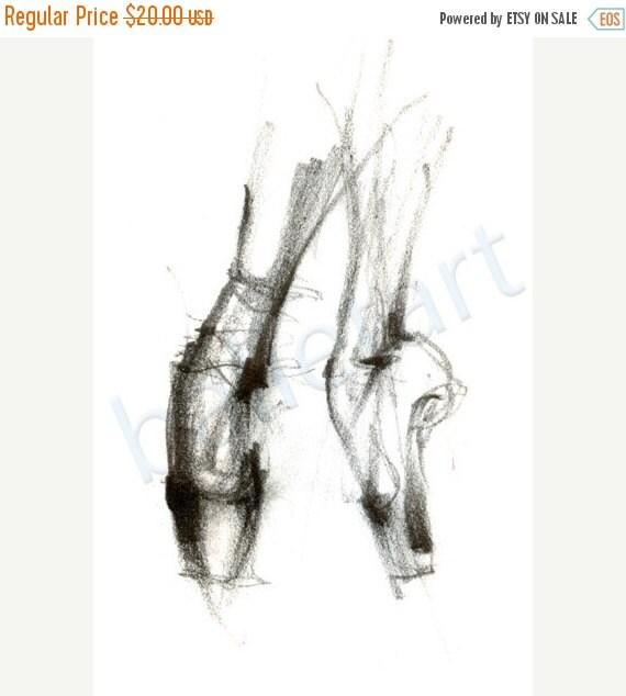 christmas sale Ballet art, ballet on pointe, art print, pencil drawing, dance art, wall decor -artwork - print of original drawing-interior