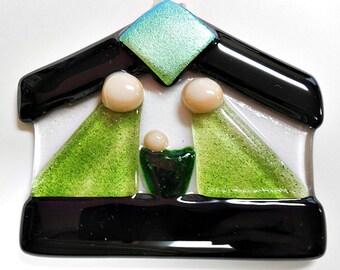 Black and Green Fused Glass Nativity/ Suncatcher/ Ornament/ Keepsake