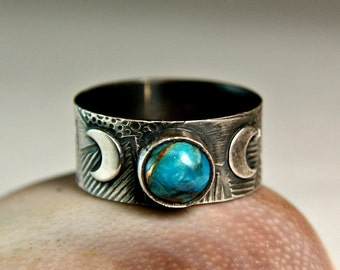Copper Turquoise Sterling Silver Ring, Bohemian Style Crescent Moon Jewelry, Wide Band Ring