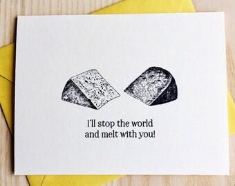 I Love You Card / I Like You Card / Food Pun Card / Cheesy Love Card / New Wave Card / Handmade Screen Printed Card