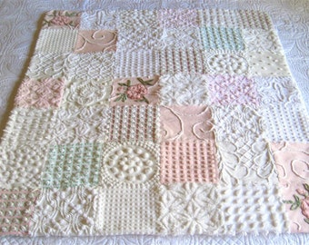 "Vintage Chenille ""Pink and White Princess""  Baby or Lap Quilt - Custom - 38"" x 44"""