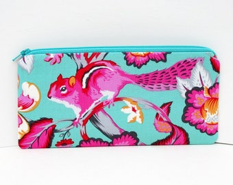 Zippered Pencil Pouch, Chipmunk,Tula Pink Chipper Sorbet, Hot Pink and Aqua Zipper Bag