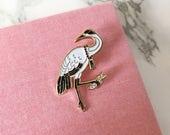 Japanese Crane Soft Enameled Bird Pin, Collectible Art Jewelry