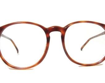 Vintage Big Lens Amber Tortoise Big Lens Hornrim Cateye Eyeglasses Eyewear Frame