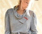 wrap jacket - wrap top - wrap sweater jacket - cardigan sweater - cozy sweater - chunky sweater - grey sweater - WrapSweater
