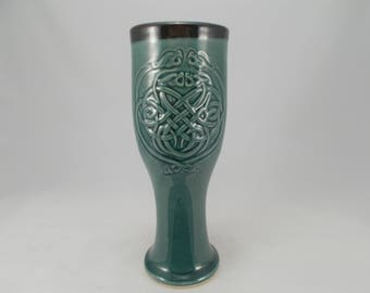 Celtic Dragon Large Pilsner or Dinnerware Tumbler, Teal, Low-Relief Carved Knotwork Design, Handcrafted Stoneware Pottery, Home Bar Accent