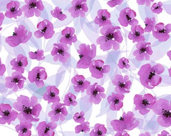Purple Poppy Flowers, 1 Yard, Quilt Fabric, By Barb Tourtillotte, Spring Meadow, by Clothworks, Purple Poppy,  Y2097-45