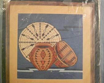 Bucilla Indian Baskets Needlepoint Kit Designed by Ellen Nadler Native American 4484