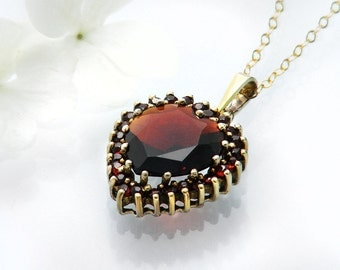 Vintage Garnet Heart Necklace | Bohemian Red Garnet Heart Pendant | Pyrope Garnets | Garnet Gold, Gilded 925 Silver - 18 Inch Chain Included