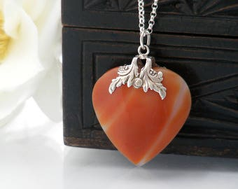 Antique Heart Pendant | Georgian Silver Capped Banded Agate Heart | Decorative Silver Cap Antique Love Token - 20 inch Sterling Silver Chain