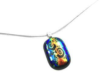 Pendant Necklace, Colorful Abstract, Dichroic Jewelry