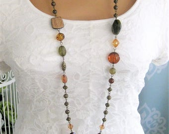 Bohemian Brown Green Beaded Necklace, Beaded Necklace, Long Beaded Necklace, Long Necklace, Long Green Beaded Necklace, Bead Necklaces, N907
