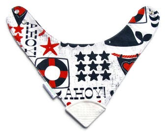 Baby Bandana Bib With  Sewn on Food Safe  Silicone Teether Corner, Nautical, Reversible  Minky Lined