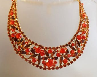 ON SALE Vintage D&E Juliana Sticks and Stones Bib Necklace.  Choker Rhinestone Necklace.  Book Piece.  Formal. Wedding. Bridal.
