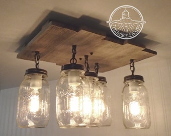 Mason Jar Flush Mount Ceiling Light with Reclaimed Wood - Pendant Lighting Chandelier Farmhouse Mason Jar Light Kitchen Wooden LampGoods