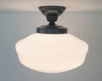 VINTAGE Large Schoolhouse Ceiling Light With Semi Flush Mount - Ceiling Lighting Farmhouse Kitchen Glass Island LampGoods