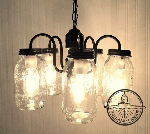Mason Jar 5-Light NEW Quarts Lighting CHANDELIER Flush
