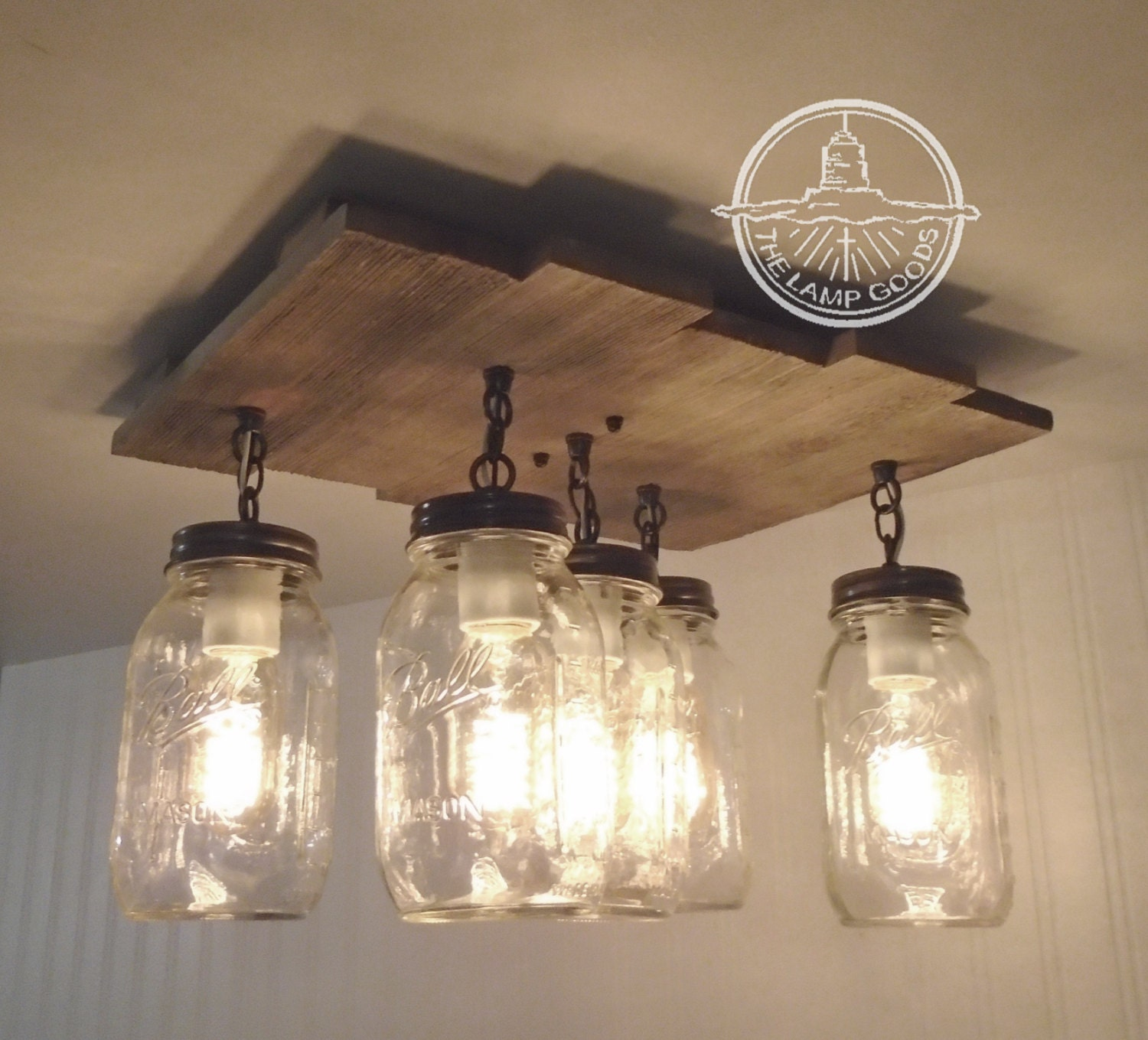 Mason Jar Flush Mount Ceiling Light With Reclaimed Wood