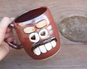 RESERVED Face Mug. Big Heart Eyes Smiley Happy Face Mug. Rustic Red Coffee Cup. Large Ceramic Clay Pottery Stein. Ug Chug Face Mug.