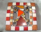 MOSAIC LIGHT SWITCH Plate Cover - Double, Wall Plate, Wall Art, Orange, Rust, Iridescent Red and White