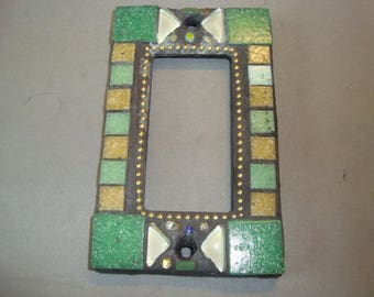 MOSAIC Outlet Cover or Switch Plate, GFI Decora, Wall Plate, Wall Art, Green, Beige, White, Gold