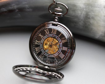 Black and Gold Mechanical Pocket Watch, Watch Chain, (charms listed separately) - Black Hands, Groomsmen Gift - Item MPW156b