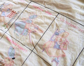 Vintage Embroidered Baby Blanket, 1940s Hand Embroidered Baby Blanket, Crib Blanket, Baby Bed Linens, Embroidered Baby Bed Linens, Blue