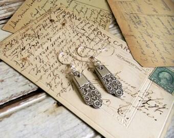 Spoon Handle Earrings, Ornate Silver Earrings, Silver Spoon Jewelry, Silver Earrings, Re Purposed Silverware Jewelry, Antique Silver Jewelry