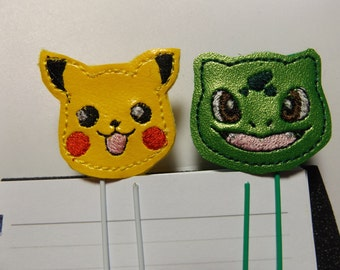 Pikachu and Bulbasaur  Planner Clips / Bookmarks  Set of 2