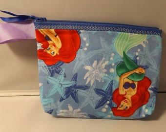 Little Mermaid, Ariel, Disney  Fabric Zipper  Pouch  Handmade -- Pencil, Gadget, Make-up  Pouch / Clutch