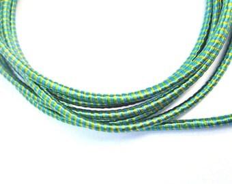 Silk cord, satin cord, green /turquoise cord, wrapped silk cord, striped silk cord, multicolor silk cord, 2 meters