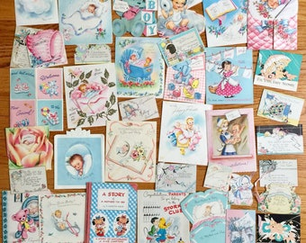 Vintage 1940s 50s Baby Greeting Card Collection / Baby Shower New Baby Folded and Single Sided Cards Set of 38 USED / Collectible Ephemera