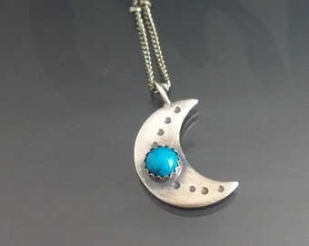 mini crescent moon necklace - sterling silver moon necklace - turquoise necklace - turquoise necklace - gemstone moon necklace
